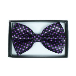 48 Units of Purple Polka Dot Bowtie 050 - Neckties