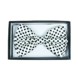 48 Units of White bow tie with black dots 052 - Neckties