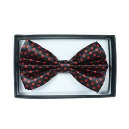48 Units of Black bowtie with red polka dot 054 - Neckties