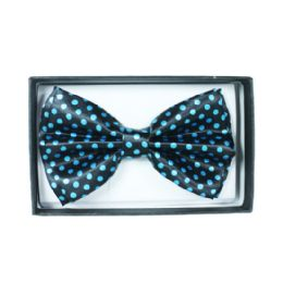 48 Units of Black bowtie with blue dots 055 - Neckties