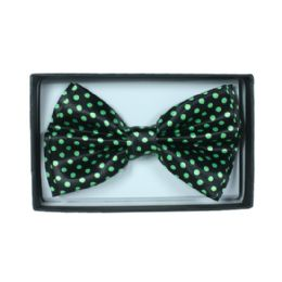 48 Units of Black Bowtie with Green dots - Neckties