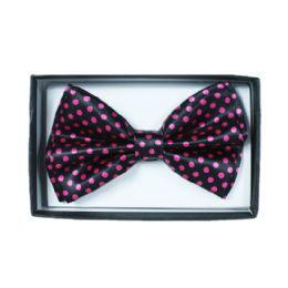48 Units of Black bowtie with pink dots 057 - Neckties