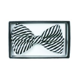 48 Units of Black and White Striped Bowtie 060 - Neckties