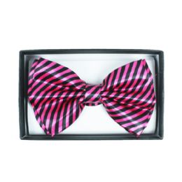 48 Units of Black and Hot Pink Striped Bowtie 061 - Neckties