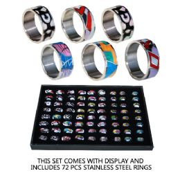 72 Units of Stainless Steel Rings Colorful - Rings