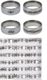 144 Units of Stainless Steel Rings Assorted Styles - Rings