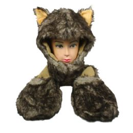 12 Units of Soft Plush Husky Animal Character Builtin Paws Mittens Hat - Winter Animal Hats
