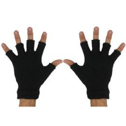 24 Units of BLACK GLOVES - Knitted Stretch Gloves