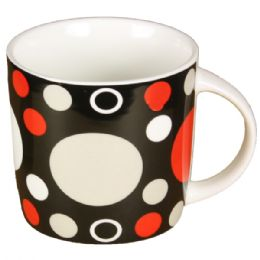 72 Units of Black Mug With Polka Dot - Coffee Mugs