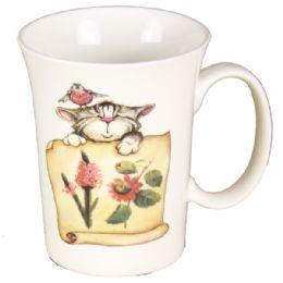 72 Units of Coffee Mug With Cat And Flowers - Coffee Mugs