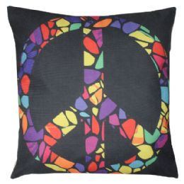 36 Units of Black Home Pillow With Colorful Peace Sign - Pillows