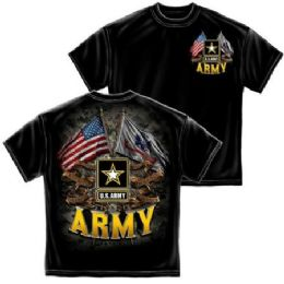 12 Units of T-SHIRT 001 DOUBLE FLAG US ARMY BLACK SMALL SIZE - Boys T Shirts