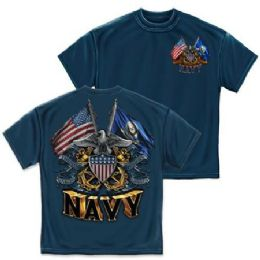 10 Units of T-SHIRT 005 DOUBLE FLAG EAGLE SHIELD NAVY BLUE SMALL SIZE - Boys T Shirts