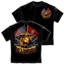 6 Units of T-Shirt 014 Double Flag Gold Globe Marine Corps Medium Size - Boys T Shirts