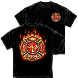 10 Units of T-SHIRT 023 FIREFIGHTER CLASSIC FIRE MALTESE LARGE SIZE - Boys T Shirts