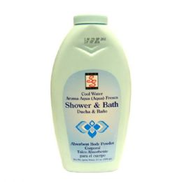 48 Units of Sofskin Body Powder 13oz Cool Water - Shower Caps