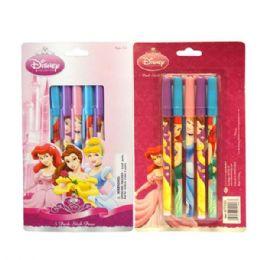 96 Units of Stick Pen 5PK Princess - Licensed School Supplies