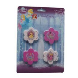 48 Units of Eraser 4pk Princess - Licensed School Supplies