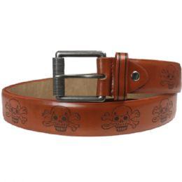 36 Units of Men Fashion Brown Belt Genuine Leather With Skull Printed Design - Mens Belts