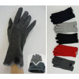 24 Units of Ladies Plush-Lined Gloves [Fur PomPom] - Knitted Stretch Gloves