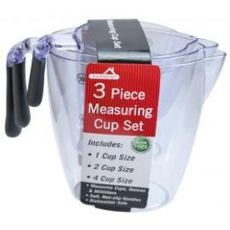 12 Units of 3 Piece Plastic Measuring Cup SeT - Measuring Cups and Spoons