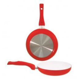 """8 Units of 8"""" Ceramic Fry Pan - Red - Frying Pans and Baking Pans"""
