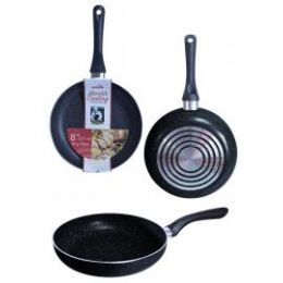 8 Units of Non Stick Marble Fry Pans Black - Frying Pans and Baking Pans