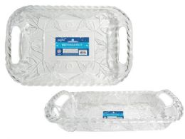 "24 Units of Rectangular Clear Plastic Trays 16.25"" X 11.25"" X 1.5""h - Serving Trays"
