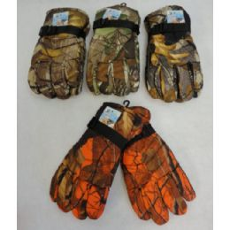 24 Units of Men's Hardwood Camo Snow Gloves - Ski Gloves