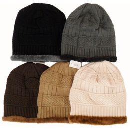 48 Units of Knit Ski Hat-Fur Trim & Lining