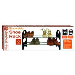 12 Units of 6 Pair Stackable Shoe Rack - Home Accessories