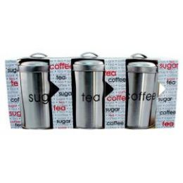 6 Units of 3 Piece Stainless Steel Cannister Set 1.2 L/40.5 oz - Home Accessories