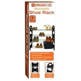 12 Units of 12-Pair Stackable Shoe RacK