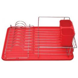 6 Units of Deluxe Chrome Dish Drainer Red - Dish Drying Racks