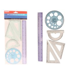96 Units of 5 Piece Geometry Ruler Set - Rulers