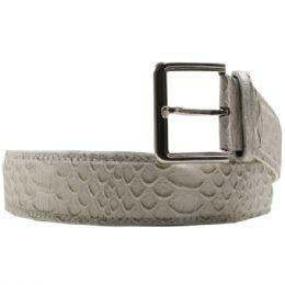 36 Units of Mens Fashion White Belt Snake Pattern - Mens Belts