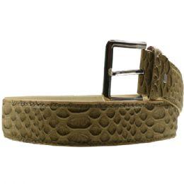 36 Units of Mens Fashion Olive Belt Snake Pattern - Mens Belts