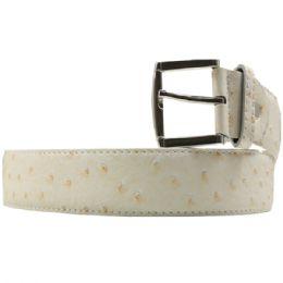 36 Units of Men's Fashion White Belt - Mens Belts