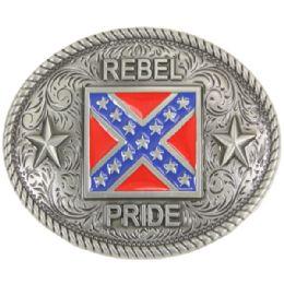 36 Units of Rebel Flag Belt Buckle - Mens Belts