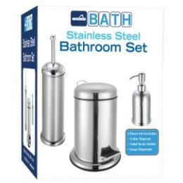 4 Units of 3 Piece Stainless Steel Bathroom Set Stainless Steel - Bathroom Accessories