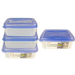 48 Units of 3 Piece Rectangular Food Containers - Storage Holders and Organizers