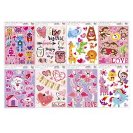 96 Units of Valentine Window Clingers - Valentine Decorations