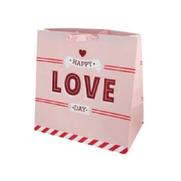 144 Units of 'Happy Love Day' Large Gift Bag - Gift Bags