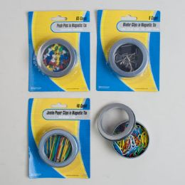 96 Units of Stationary Filled Magnetic Tins Blister Card - Clips and Fasteners