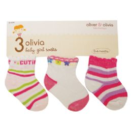 48 Units of GIRL'S INFANT SOCKS 3 PAIR ASSORTED COLORS & DESIGNS SIZE 0-6 MONTHS