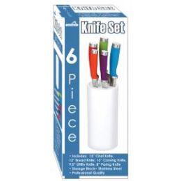 6 Units of 6 Piece Knife Set With Storage Block - Kitchen Knives