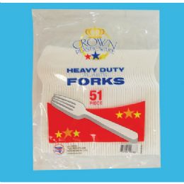 48 Units of 51 Ct Plastic Fork Cutlery - Disposable Cutlery