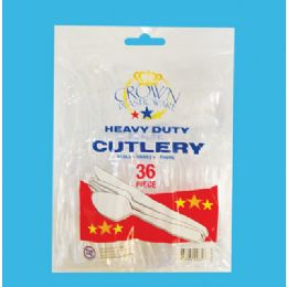 36 Units of Crown Plastic Ware Cutlery - Disposable Cutlery