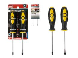 """96 Units of Screwdrivers 2pc 4"""" L Yellow+black Color - Screwdrivers and Sets"""