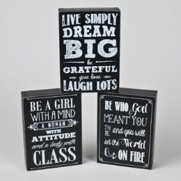 48 Units of Box Sign Chalkboard Sayings 3 Asst 5 X 7 See N2 - Chalk,Chalkboards,Crayons